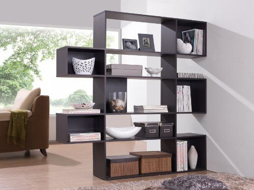 Baxton Studio Lanahan 5-Level Modern Display Bookshelf, Dark Brown