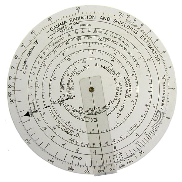 Slide Rule for Shielding Calculations from Radioisotope Applications Company (ca. 1950s)