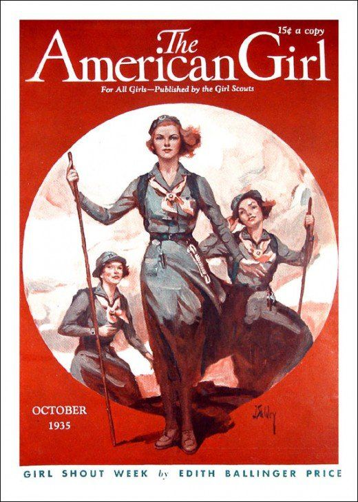 """Magazine cover from """" The American Girl"""" published by Girl Scouts of America."""