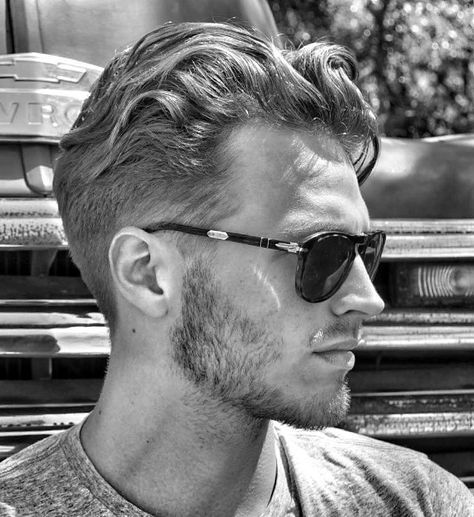.Great hair cut that doesn't fight or try to subdue this man's wavy curly hair. Works well with the scruff. Haircut by Lauren Moser. Model: Thomas Carlton