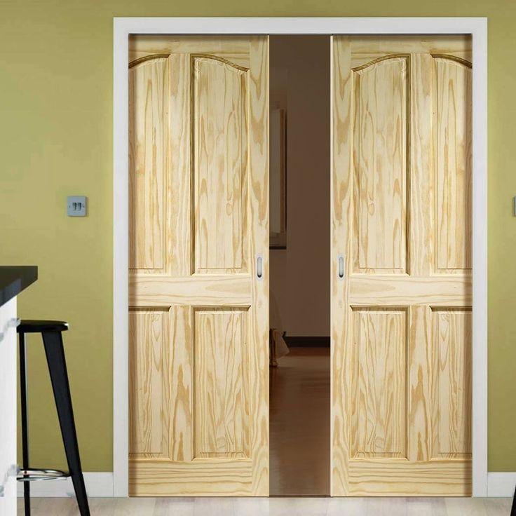 Double Pocket Rio 4 Panel Clear Pine Door. #pocketdoors #pocketdoorpair #slidingpocketdoors