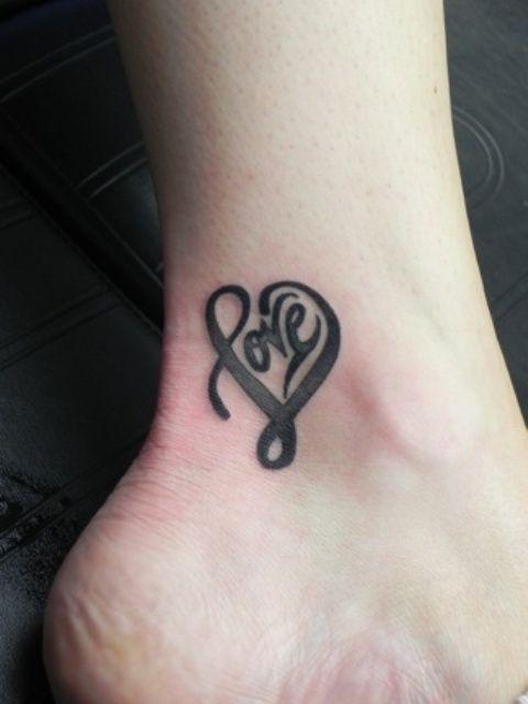 Tribal Heart Love Tattoo on Leg