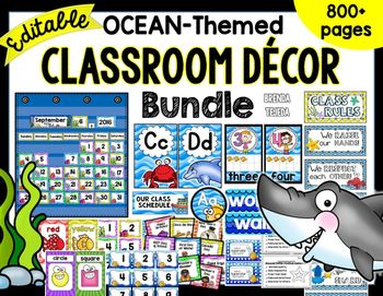 classroom decor, library labels, school supply labels, word wall, numbers, calendar, banners, alphabet strip This huge bundle is at a HUGE discount for just a short while, and includes all of my ocean decor items! Vibrant colors and 2 design options for