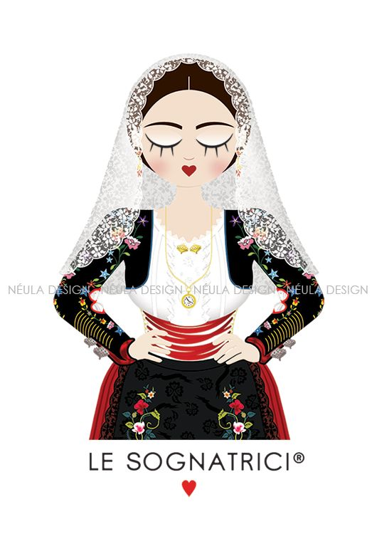 Sognatrice di Banari  #Traditional #dress #LeSognatrici #sardegna #sardinia #illustration #art #jewelry
