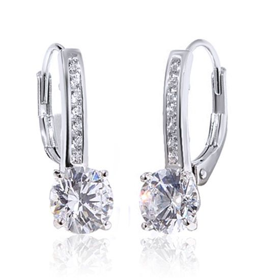 2.14 Carat D/ VVS1 Round Brilliant Cut Pave 10K Solid White Gold Drop Earrings #gemdepot #Drop #BlackFridaysDeals