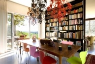 Home library - California Home + Design - I like the colorful