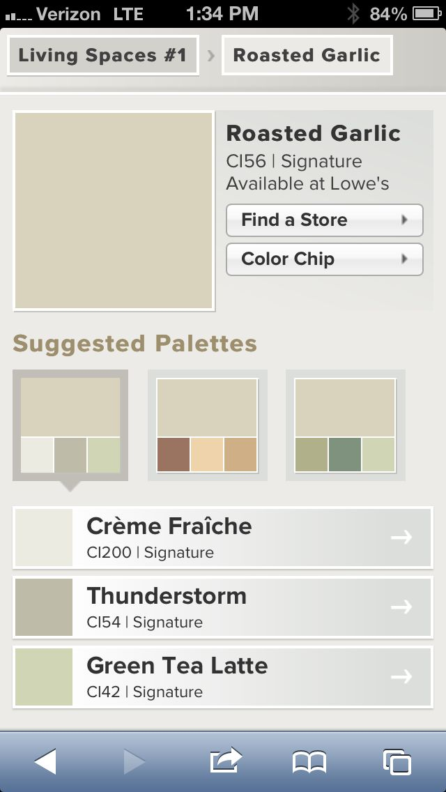 Valspar Roasted Garlic Neutral Living Room Paint Color With Suggested Palettes