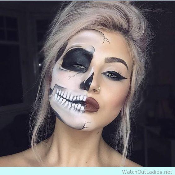 Half face skull make up inspiration for halloween