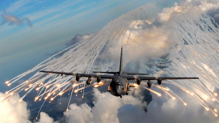 uçak, ac-130, C-130 Hercules, mavi gökyüzü, bulutlar