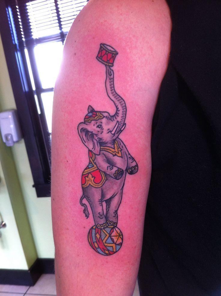 Circus Elephant Tattoos on Pinterest | Tribal elephant drawing Circus ...