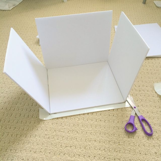 Step 4 - making custom sized storage boxes using craft foam boards- northstory.ca