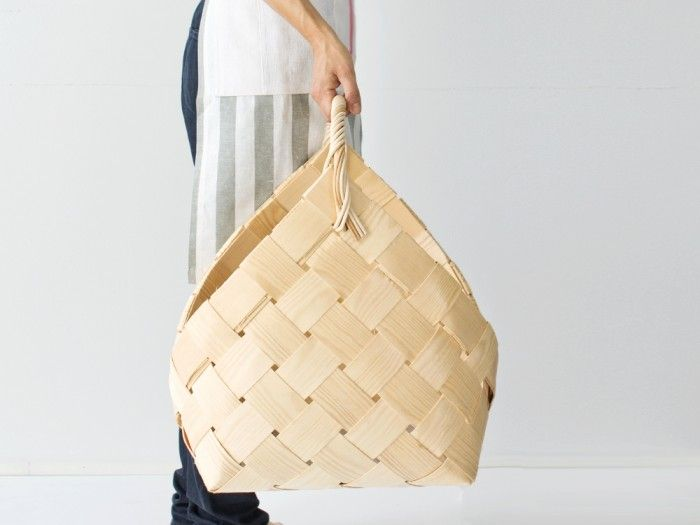 Crafted Finnish wooden basket. This is very traditional basker for carrying the fire wood inside.