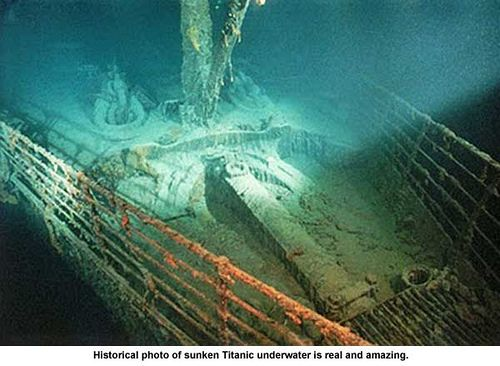 Historical photo of sunken Titanic underwater is real and amazing