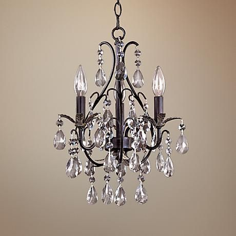 Castlewood Walnut Silver Finish 3-Light Mini Chandelier - #83484 | www.lampsplus.com