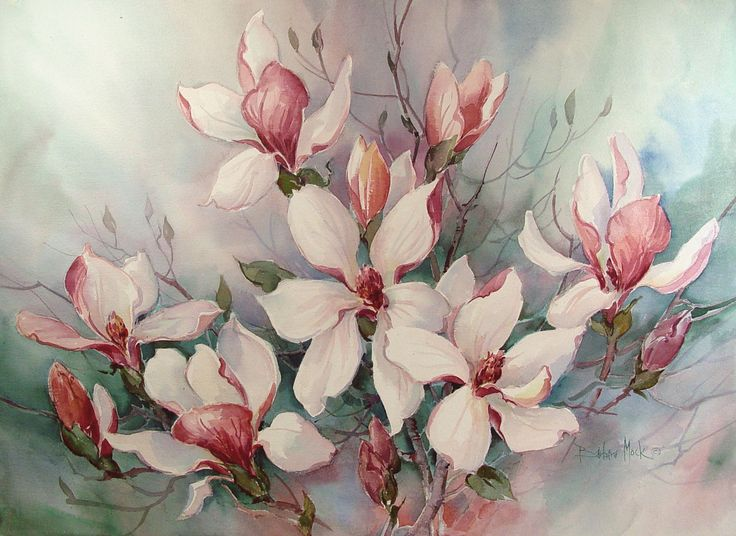"Watercolor on paper of a flowering magnolia tree by Barbara Mock. Unframed. 30""…"