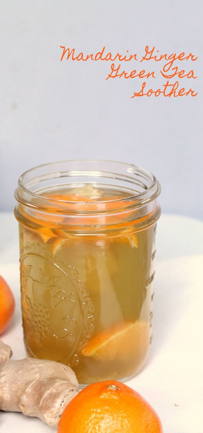 Kick that dry scratchy throat to the curb and trade in your traditional lemon ginger soother for this mandarin ginger green tea soother recipe - lightly sweetened green tea recipe with honey and ginger to soothe your throat.
