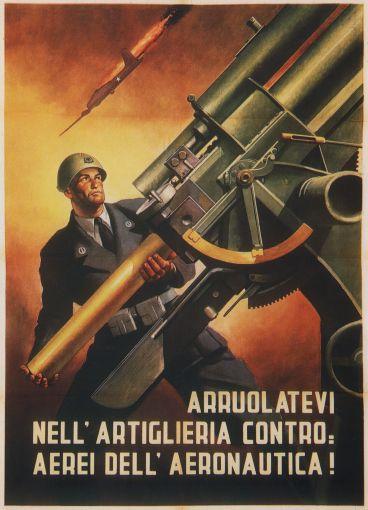 Italian poster, Gino Boccasile, 1944: Anti-Aircraft Artillery