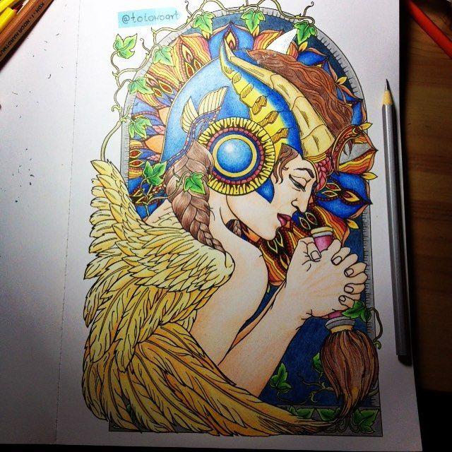 Konieeec! @sztuka_kolorowania @the_13th_sign #coloringbook #kolorowanka #kolorowanie #straznicynocy #kolorowankadladoroslych #coloring #the13thsign #coloringpencils #art #coloringart