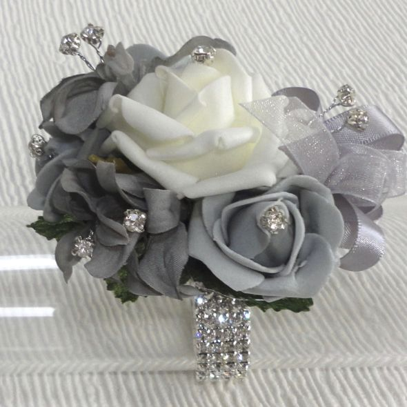 Grey & Silver Wrist Corsage for Proms & Weddings - www.thefloraltouchuk.com