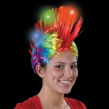 Light Up Rainbow Mohawk Wig - 1 count