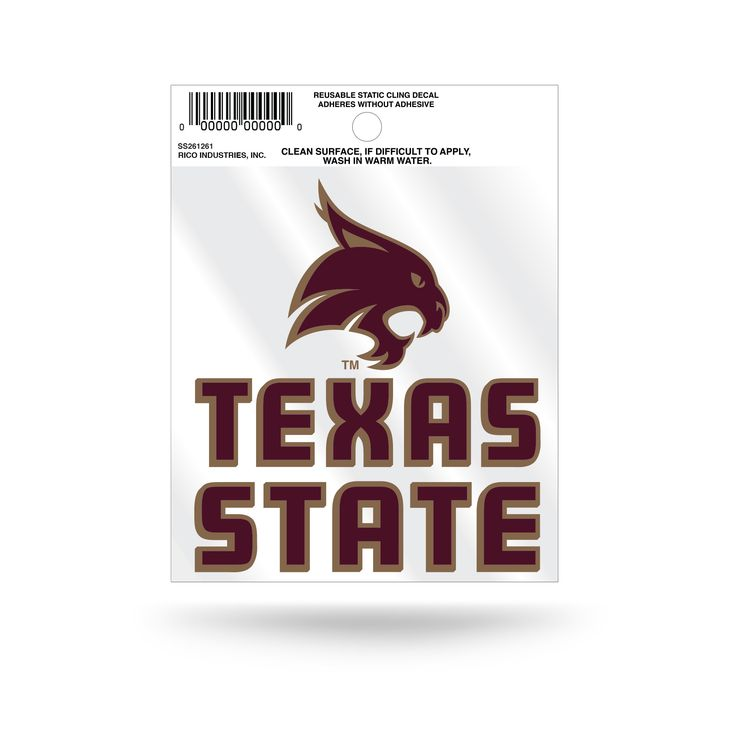 Texas State Bobcats Logo Static Cling Sticker NEW!! Window or Car! NCAA