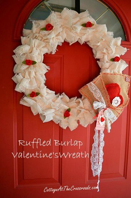 Ruffled Burlap Valentine's Wreath