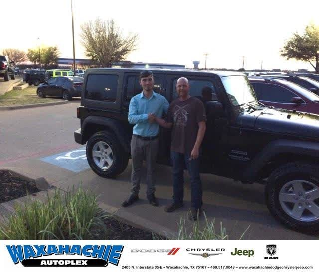 Congratulations Matthew on your #Jeep #Wrangler Unlimited from Chance Massey at Waxahachie Dodge Chrysler Jeep!  https://deliverymaxx.com/DealerReviews.aspx?DealerCode=F068  #WaxahachieDodgeChryslerJeep