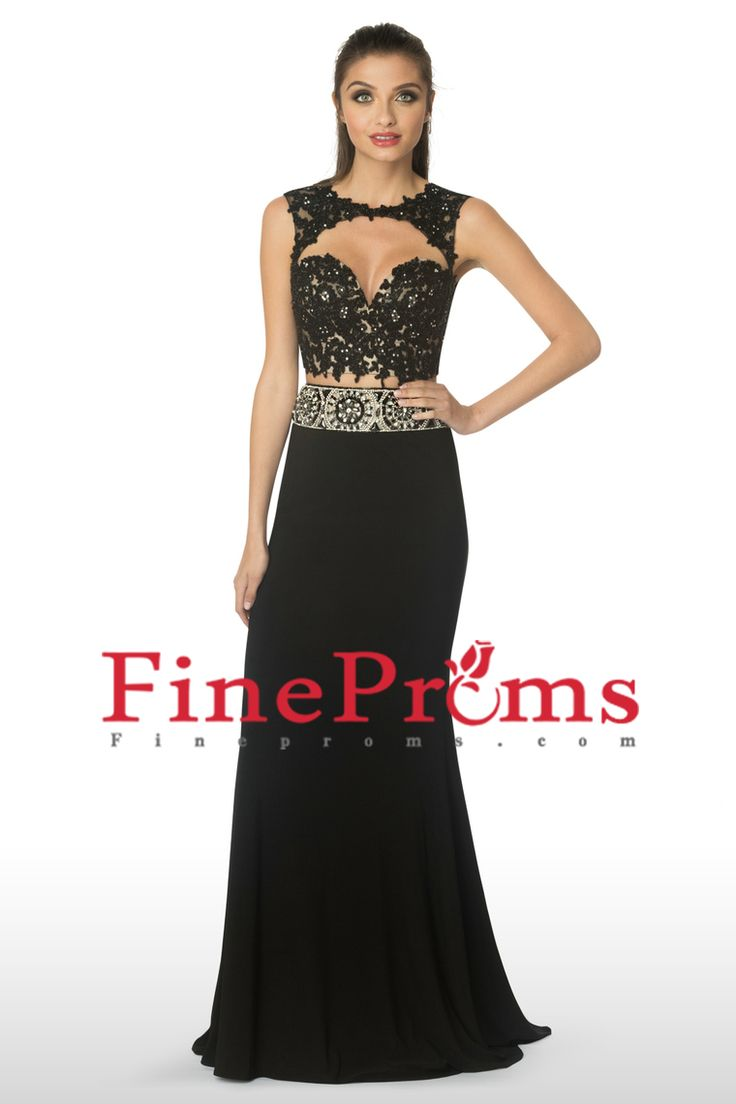 2016 Prom Dresses Scoop Two-Piece Sheath Open Back Spandex With Beads And Applique