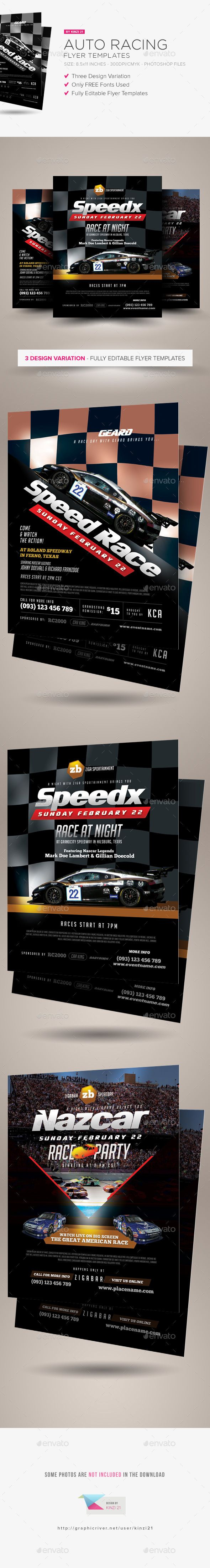 Auto Racing Flyer Templates — Photoshop PSD #auto #motor • Available here → https://graphicriver.net/item/auto-racing-flyer-templates/14737404?ref=pxcr
