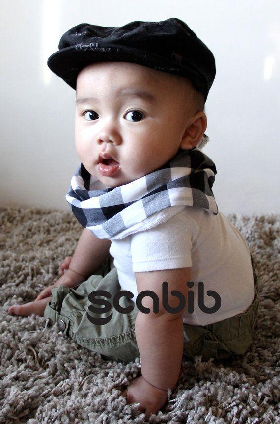 "Modern Bib (Black/White Checks) All in One Scarf & Bib ""Scabib""tm for babies or toddlers"