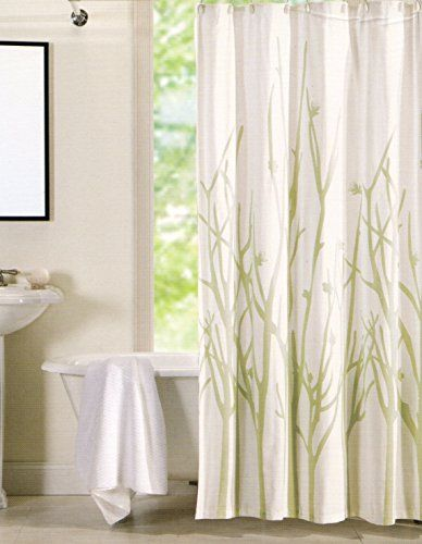 Hotel Twenty One Cotton Shower Curtain Branches Tree Aqua Sage Green White