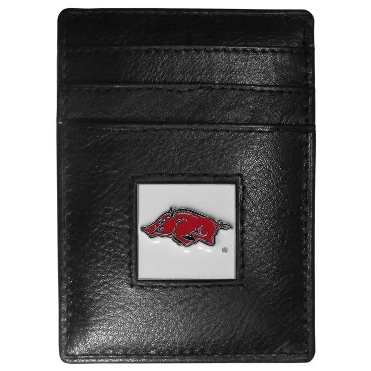 """Checkout our #LicensedGear products FREE SHIPPING + 10% OFF Coupon Code """"Official"""" Arkansas Razorbacks Leather Money Clip/Cardholder Packaged in Gift Box - Officially licensed College product Genuine fine grain leather wallet Credit card slots Magnetic money clip that will not damage your cards Metal Arkansas Razorbacks emblem with enameled team colors - Price: $22.00. Buy now at https://officiallylicensedgear.com/arkansas-razorbacks-leather-money-clip-cardholder-packaged-in-gift-box-cch12"""