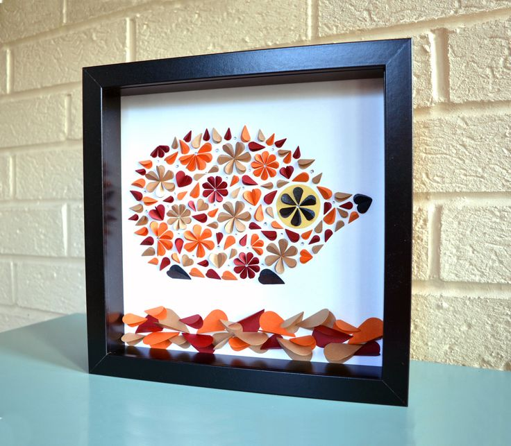 Stunning hedgehog picture made from folded hearts and finished with diamante crystals to create an unusual 3D image.
