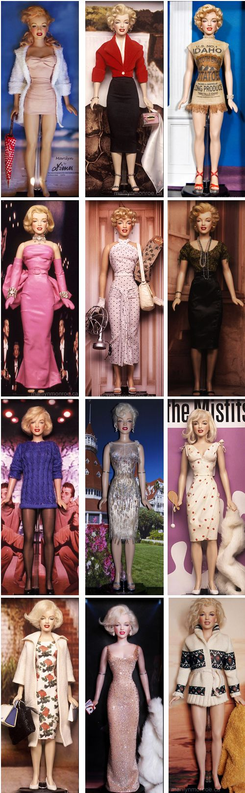 """Kim Goodwin's One-of-a-Kind custom Marilyn Monroe dolls. Using the Franklin Mint doll as a vinyl """"form,"""" Kim strips it down to basics and starts fresh. He skillfully and meticulously adds hair, make-up, clothing and accessories specific to Marilyn's character and costume in each film. He doesn't sew, but brilliantly finds ways to approximate Marilyn's original movie costumes. These dolls are not for sale."""