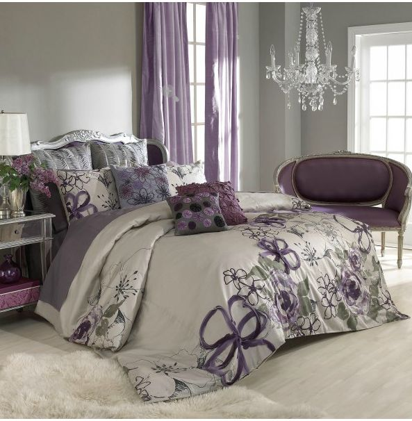 sage wall color purple curtains bedspread bedroom ideas
