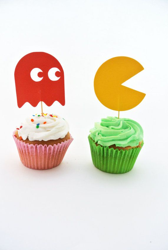 12 Pacman Cupcake Toppers  Birthday Party by QuillingInTheNameOf