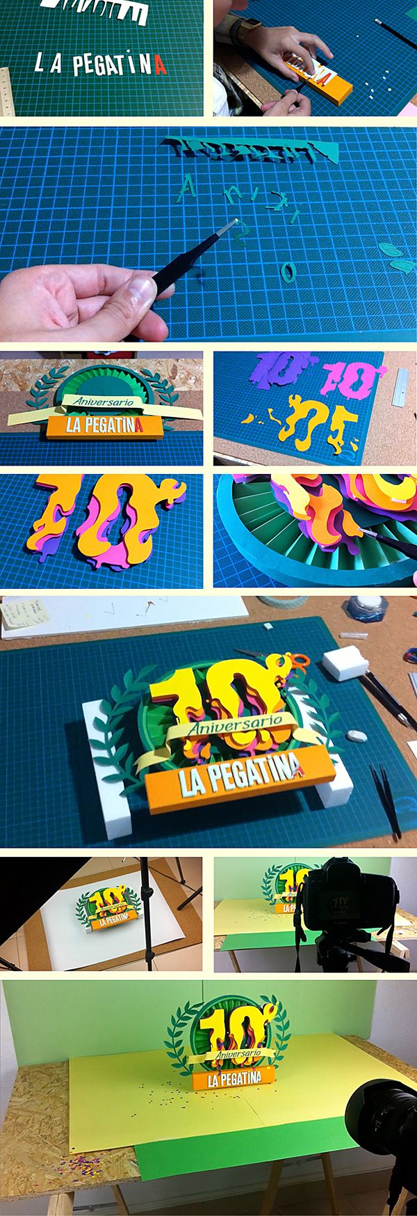"""This year the spanish rumba fusion band """"La Pegatina"""" are celebrating their 10th aniversary, I was commisioned to created a logo on paper for one of thet-shirts for their aniversary."""
