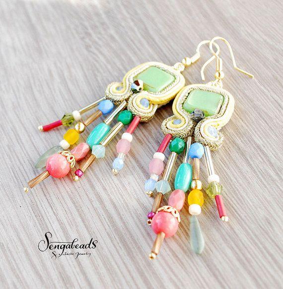 Handmade soutache earrings soutache jewelry soutache by Sengabeads