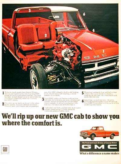 1968 GMC Pickup Truck original vintage advertisement. Photographed in vivid color with cutaway view of cab and motor.