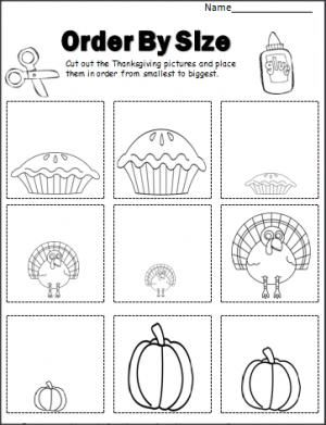 Thanksgiving Order By Size activity.  Cut and paste the pictures in order by size.