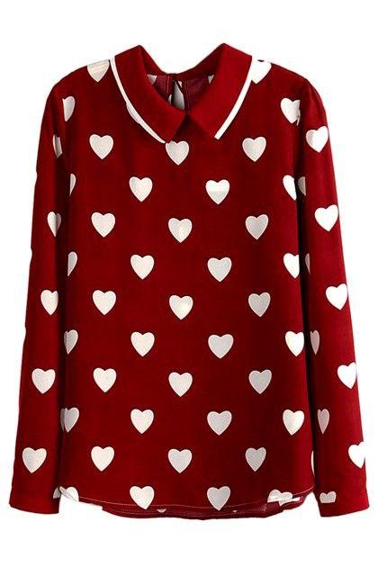 White Heart Print Shirt in Wine Red