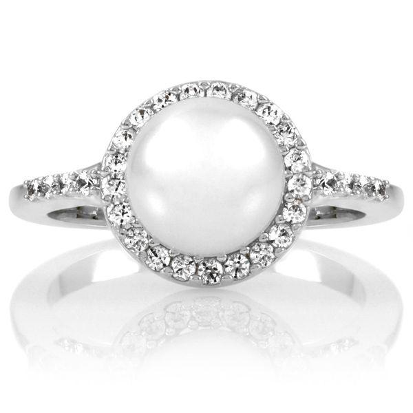 Elegant CZ & Pearl Ring. Perfect engagement ring!!