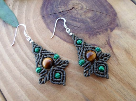 Malachite macrame earrings, macrame jewelry, micro macrame, micromacrame earings, macrame stone, elven earrings, fairy earrings