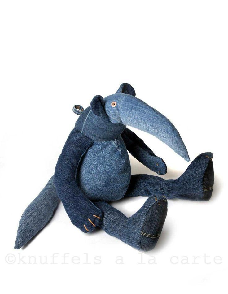 This cool ant eater softieis made from recycled jeans. Hes created by Dutch design label Maison Indigo.