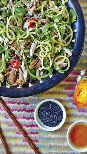 Sesame Chicken Salad with Cucumber Noodles from Melissa and Jasmine Hemsley's book The Art of Eating Well. This refreshing salad is a great way to use up leftover chicken or beef, or even fish.