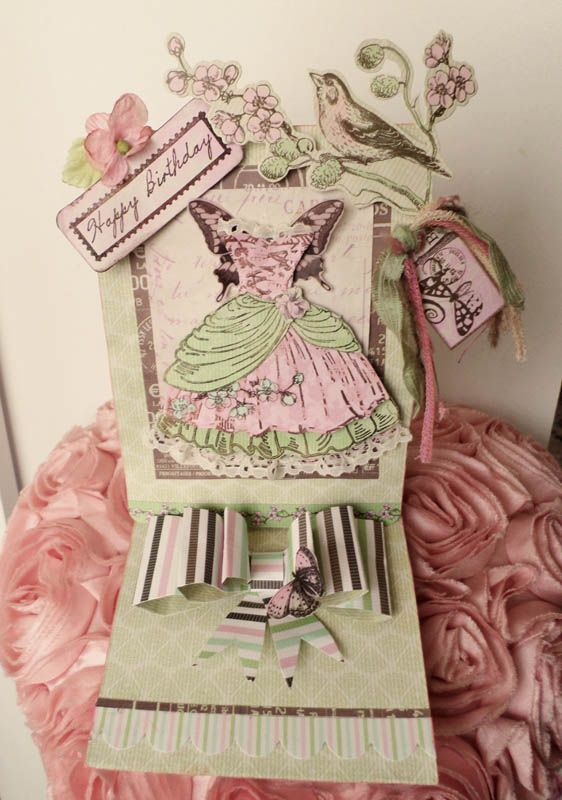 Handmade easel Birthday card using Kaisercraft Bonjour and Kanban stamps -paper pieced.