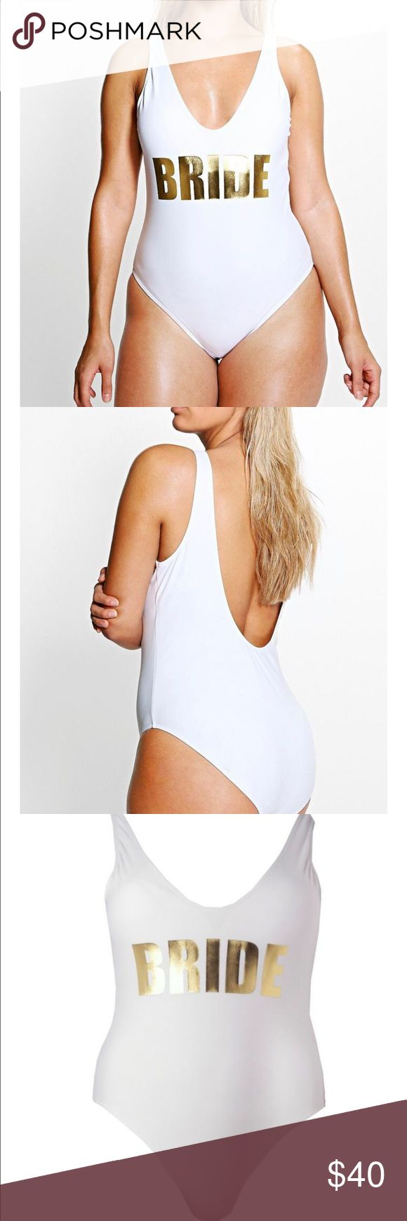 Bride bathing suit size US 20 Bride bathing suit!! Size US 20. Perfect for a future bride. Sold out online!!! worn only for pictures then washed Boohoo Plus Swim One Pieces