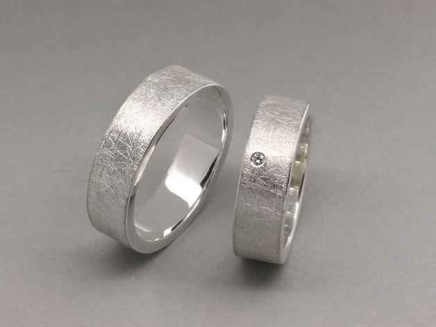 Eheringe - Trauringe EISMATT aus 925 Silber, 6mm breit - ein Designerstück von schmucke-sachen-traut-euch bei DaWanda