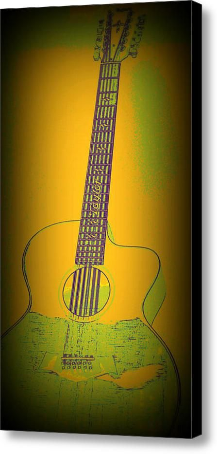 Yellow Guitar Canvas Print / Canvas Art By Laurie Pike