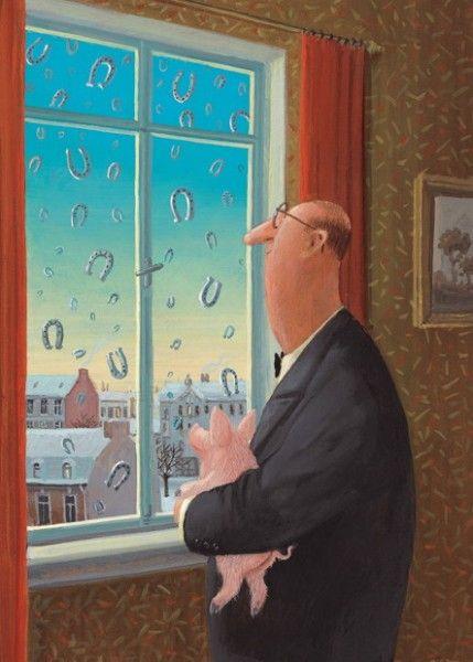 Hufeisenregen: Illustration by Gerhard Glück (10,5 x 14,8 cm Postkarte, €1.00) #illustration #Gerhard_Glueck #swine